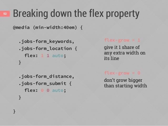 In other words...53 @media (min-width:40em) { .jobs-form_keywords, .jobs-form_location { flex: 1 1 auto; } .jobs-form_dist...