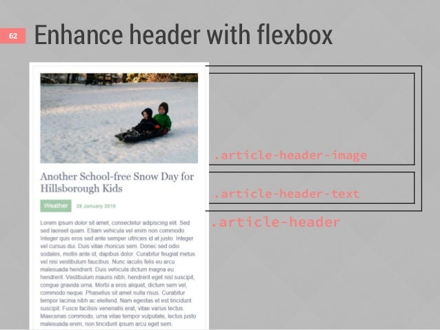 Enhance header with flexbox63 1. Make photo and text block automatically sit side- by-side when they can fit (300px + 20em...