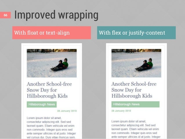 A real-world wrapping example Without flexbox (IE 9) With flexbox (Chrome) 67