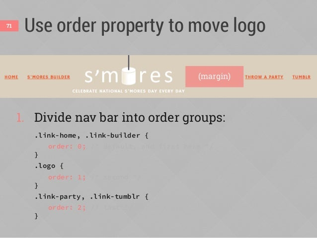 Use order property to move logo 2. Split extra space on line to center logo: .logo { margin-left: auto; } .link-party { ma...