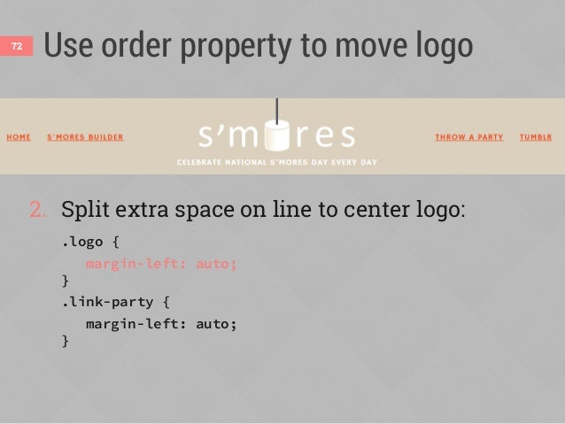 """Order only works on siblings73 To move logo to middle of list, it needs to be part of list <div class=""""logo""""><img src=""""ima..."""