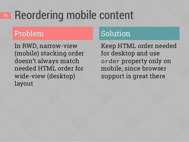 Demo: moving a photo on mobile Desktop: HTML order (no flexbox)Mobile: reordered 77