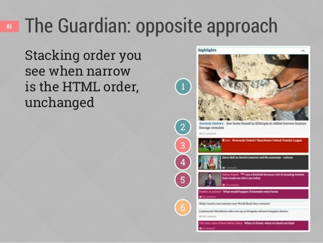 The Guardian: opposite approach82 Reordered when wide, but not using order 12 3 4 56 flex-direction: row-reverse flex-dire...
