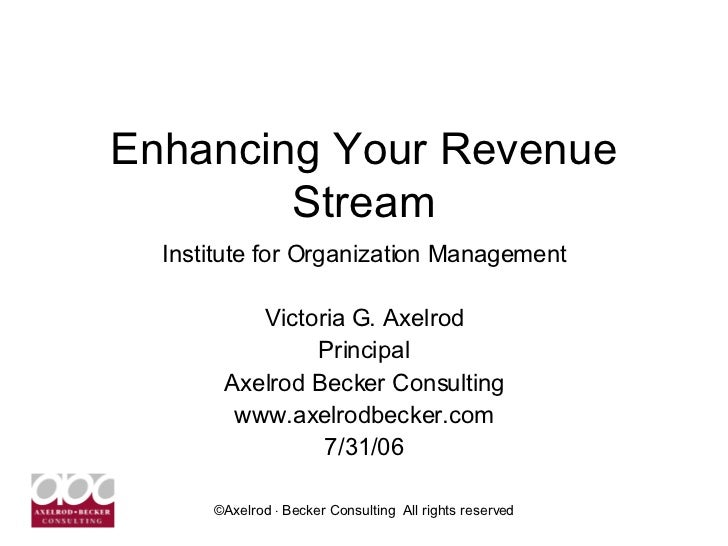Enhancing Your Revenue Stream Institute for Organization Management Victoria G. Axelrod Principal Axelrod Becker Consultin...