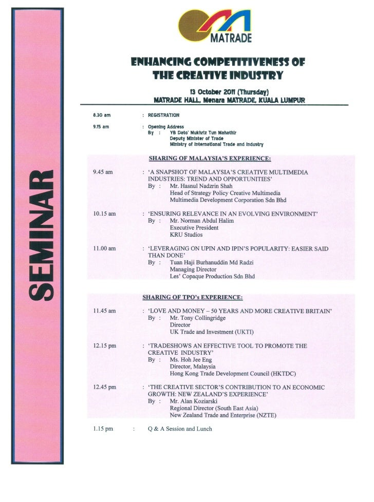 enhancing competitiveness creative industry seminar 2011 event itin