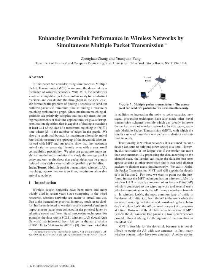 Enhancing Downlink Performance in Wireless Networks by               Simultaneous Multiple Packet Transmission ∗          ...