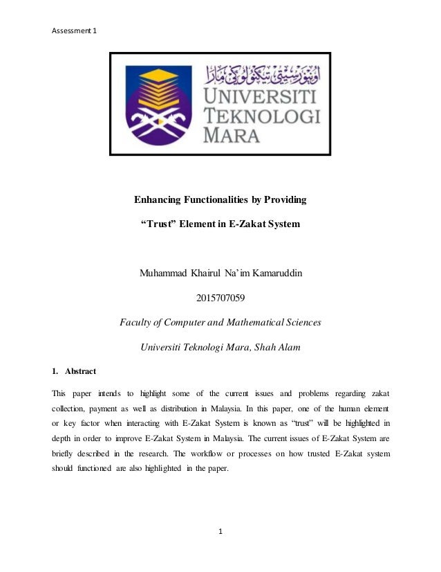 Enhancing functionalities by providing trust element in e zakat system assessment1 1 enhancing functionalities by providing trust element in e zakat system muhammad ccuart Images