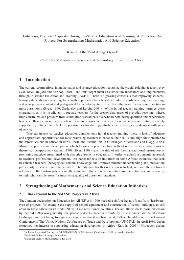Enhancing Teachers' Capacity Through In-Service Education And Training: A Reflection On               Projects For Strength...