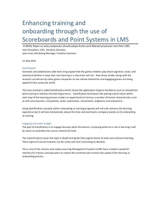 Enhancing training and onboarding through the use of Scoreboards and Point Systems in LMS A White Paper on why companies s...