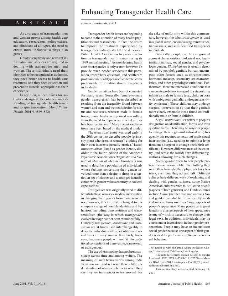 Enhancing Transgender Health Care  A B S T R A C T                             Emilia Lombardi, PhD        As awareness of...