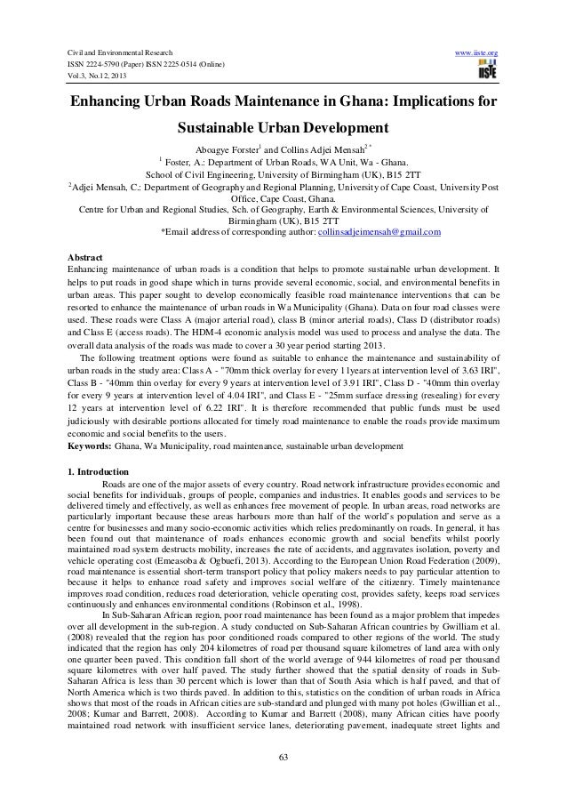 Civil and Environmental Research ISSN 2224-5790 (Paper) ISSN 2225-0514 (Online) Vol.3, No.12, 2013  www.iiste.org  Enhanci...