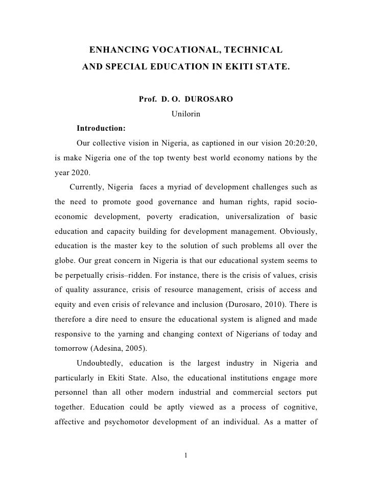 ENHANCING VOCATIONAL, TECHNICAL        AND SPECIAL EDUCATION IN EKITI STATE.                         Prof. D. O. DUROSARO ...