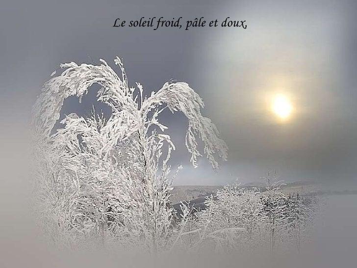Le soleil froid, pâle et doux,