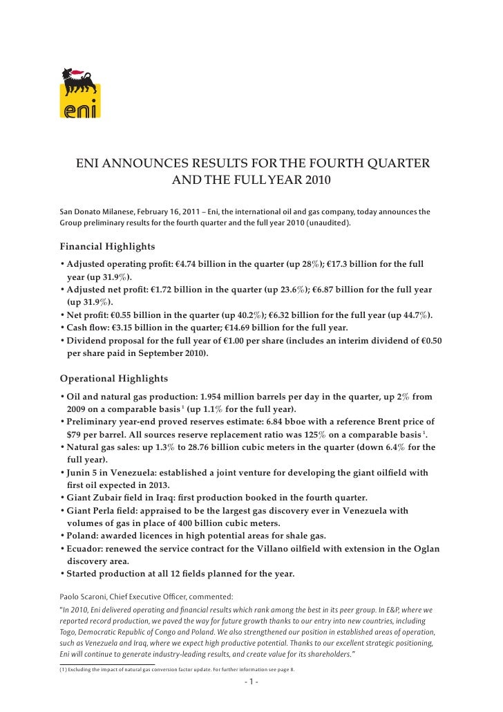 ENI ANNOUNCES RESULTS FOR THE FOURTH QUARTER                 AND THE FULL YEAR 2010San Donato Milanese, February 16, 2011 ...
