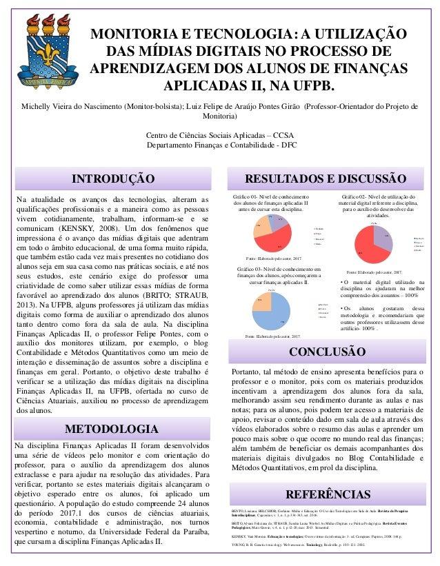 MONITORIA E TECNOLOGIA: A UTILIZAÇÃO DAS MÍDIAS DIGITAIS NO PROCESSO DE APRENDIZAGEM DOS ALUNOS DE FINANÇAS APLICADAS II, ...
