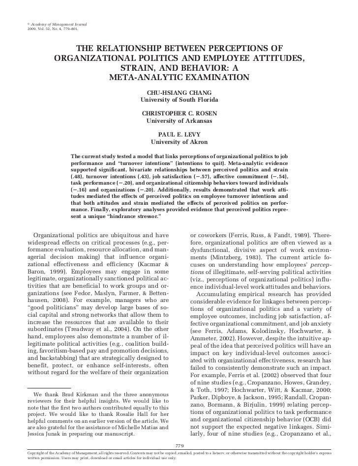 Academy of Management Journal2009, Vol. 52, No. 4, 779–801.                   THE RELATIONSHIP BETWEEN PERCEPTIONS OF     ...