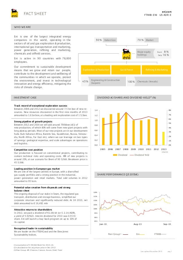 eni.com  FACT SHEET  FTMIB: ENI US ADR: E  WHO WE ARE Eni is one of the largest integrated energy companies in the world, ...