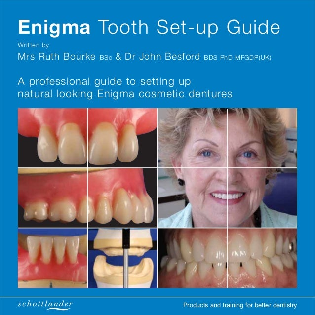 Products and training for better dentistry Enigma Tooth Set-up Guide Written by Mrs Ruth Bourke BSc & Dr John Besford BDS ...