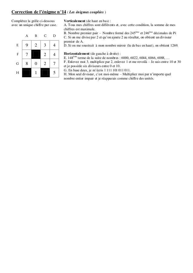 Correction de l'énigme n°14 ( Les énigmes couplées ) Complétez la grille ci-dessous avec un unique chiffre par case. A B C...