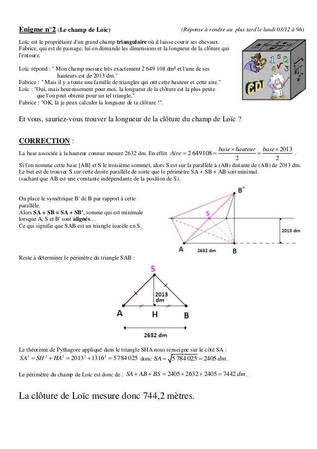 Enigme n°2 (Le champ de Loïc)                                             (Réponse à rendre au plus tard le lundi 03/12 à ...