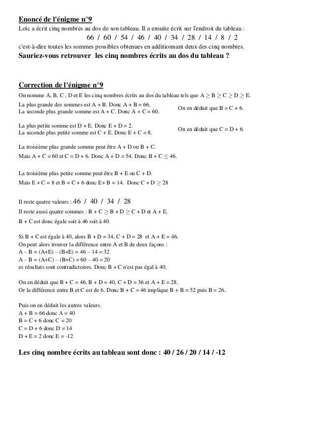 Enoncé de l'énigme n°9 Loïc a écrit cinq nombres au dos de son tableau. Il a ensuite écrit sur l'endroit du tableau :  66 ...