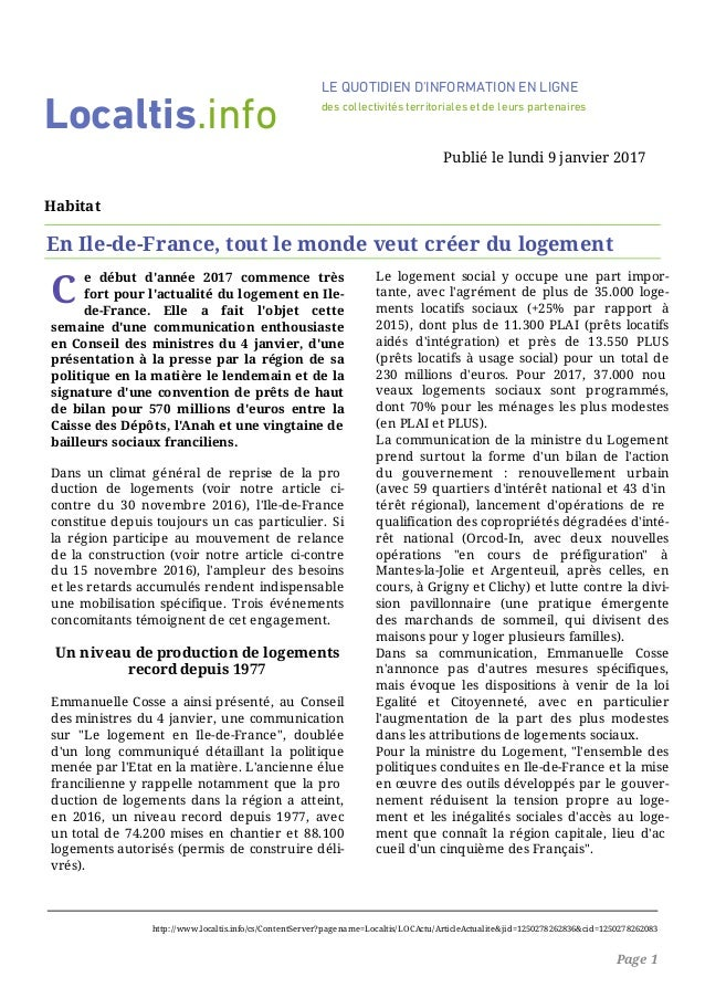 C e début d'année 2017 commence très fort pour l'actualité du logement en Ile- de-France. Elle a fait l'objet cette semain...