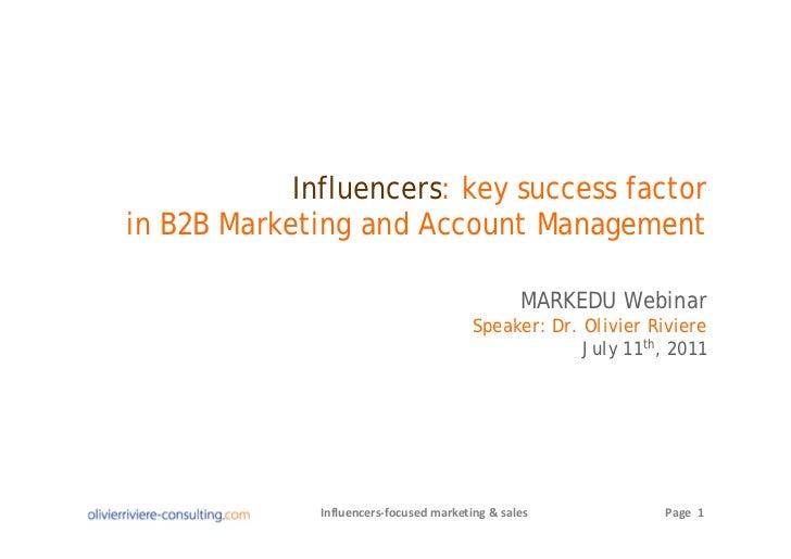 Influencers: key success factorin B2B Marketing and Account Management                                                 MAR...