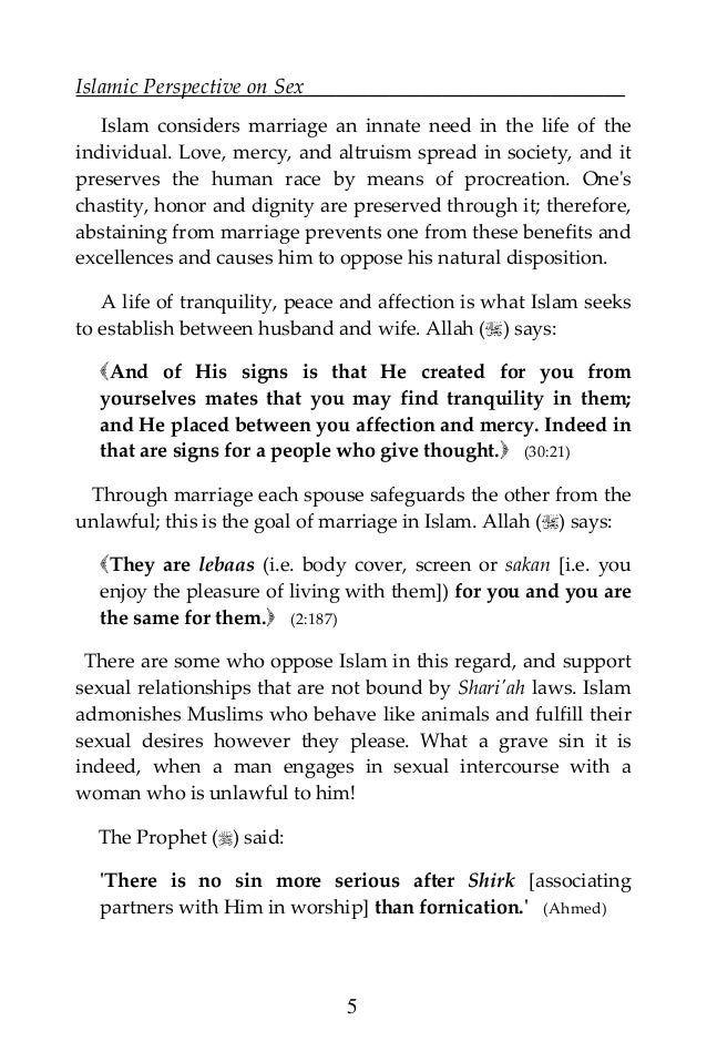 Sexual relationship with wife in islam