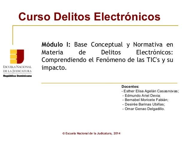 Curso Delitos Electrónicos • © Escuela Nacional de la Judicatura, 2014 Docentes: - Esther Elisa Agelán Casasnovas; - Edmun...