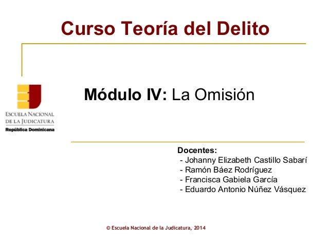 Curso Teoría del Delito  Módulo IV: La Omisión  Docentes:  - Johanny Elizabeth Castillo Sabarí  - Ramón Báez Rodríguez  - ...
