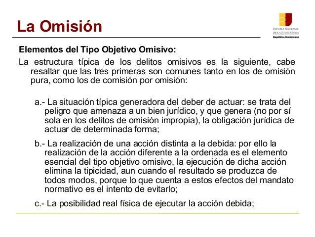 La Omisión  Elementos del Tipo Objetivo Omisivo:  La estructura típica de los delitos omisivos es la siguiente, cabe  resa...