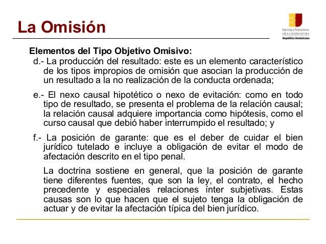 La Omisión  Elementos del Tipo Objetivo Omisivo:  d.- La producción del resultado: este es un elemento característico  de ...