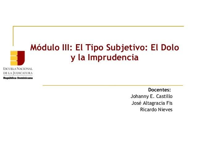 Módulo III: El Tipo Subjetivo: El Dolo y la Imprudencia  Docentes: Johanny E. Castillo José Altagracia Fis Ricardo Nieves