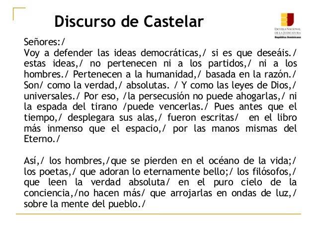 Discurso de Castelar Señores:/ Voy a defender las ideas democráticas,/ si es que deseáis./ estas ideas,/ no pertenecen ni ...