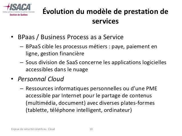 Évolution du modèle de prestation de                                       services• BPaas / Business Process as a Service...