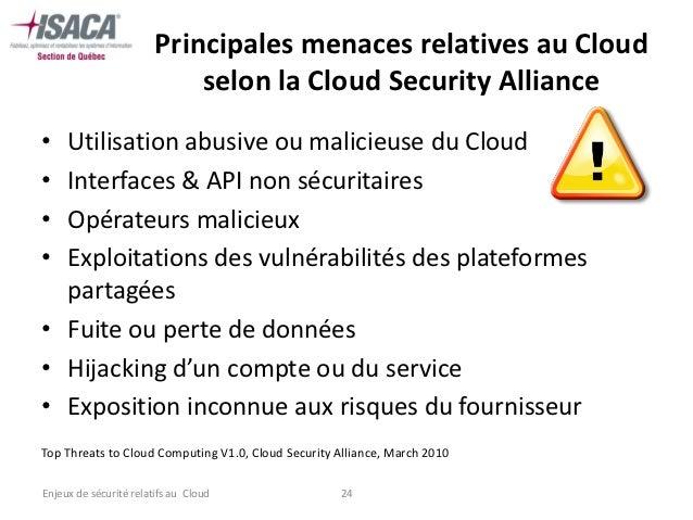 Principales menaces relatives au Cloud                            selon la Cloud Security Alliance• Utilisation abusive ou...
