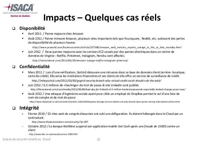 Impacts – Quelques cas réels           Disponibilité                  Avril 2011 / Panne majeure chez Amazon            ...