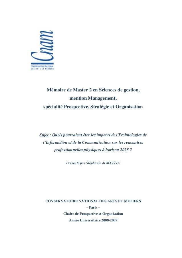 Mémoire de Master 2 en Sciences de gestion,                 mention Management,  spécialité Prospective, Stratégie et Orga...