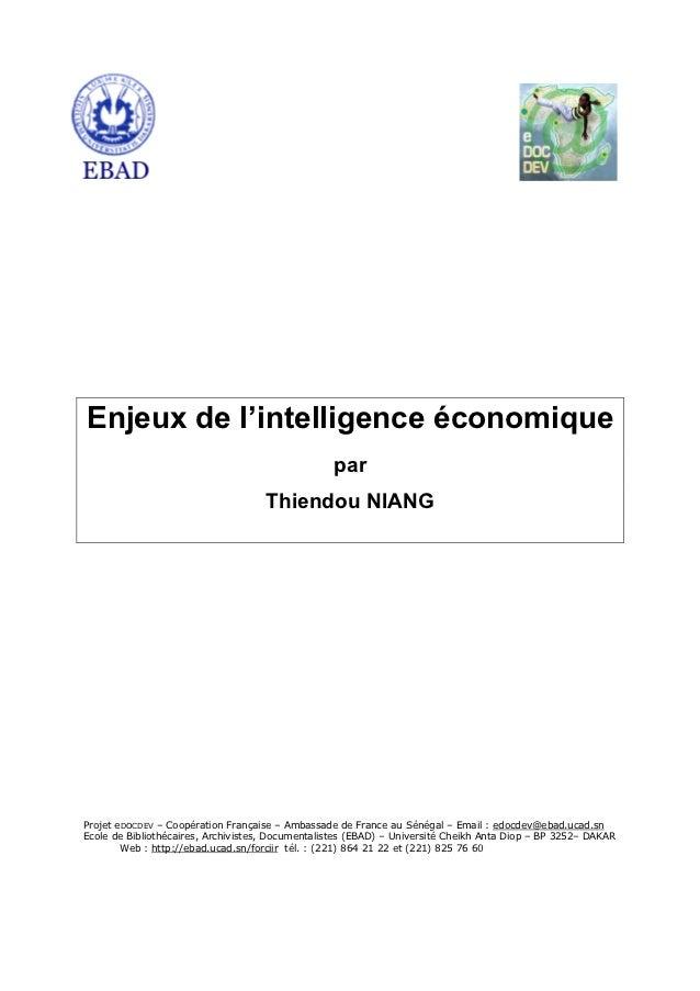 Enjeux de l'intelligence économique                                                  par                                  ...