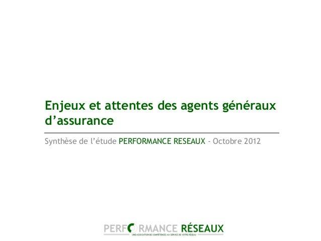 Enjeux et attentes des agents générauxd'assuranceSynthèse de l'étude PERFORMANCE RESEAUX - Octobre 2012