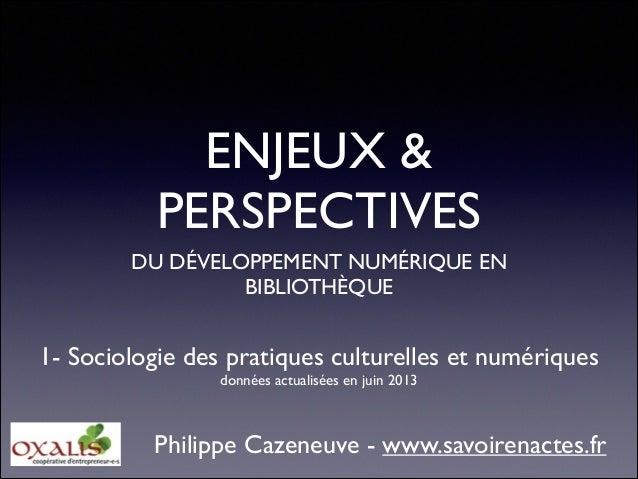 ENJEUX & PERSPECTIVES DU DÉVELOPPEMENT NUMÉRIQUE EN BIBLIOTHÈQUE  1- Sociologie des pratiques culturelles et numériques  ...