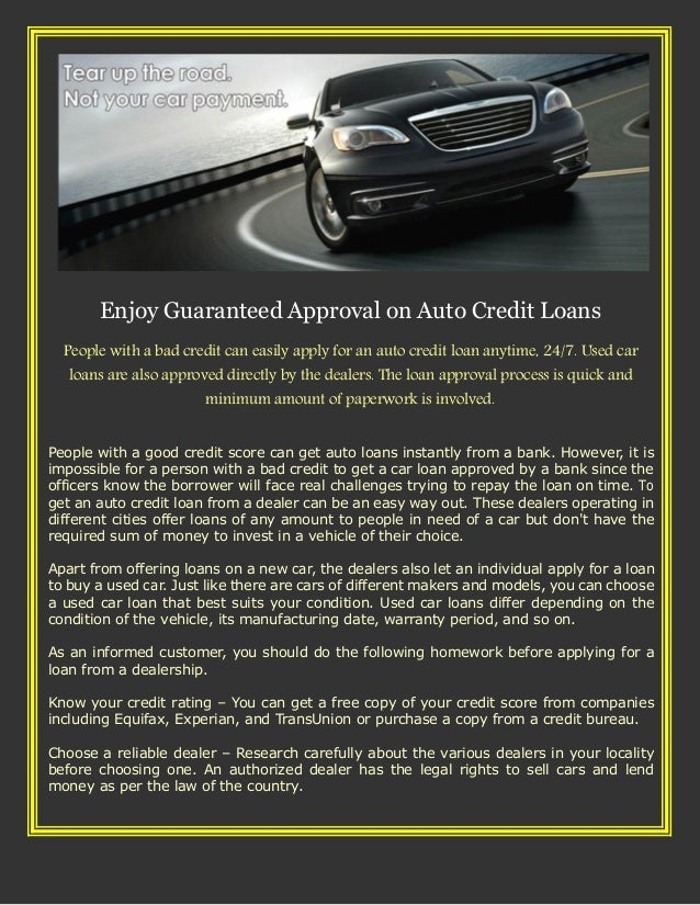 Enjoy Guaranteed Approval On Auto Credit Loans