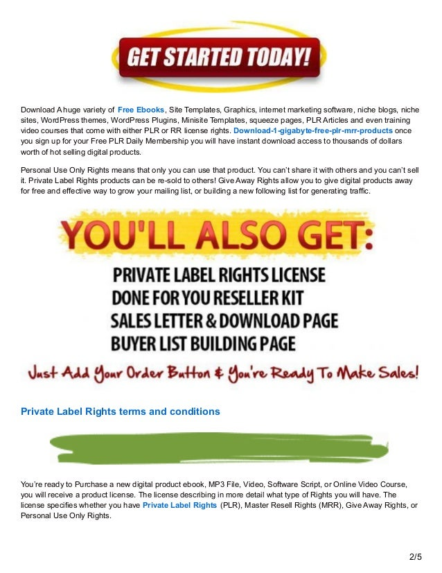 Private Label Rights and Master Resell Rights Products for Free