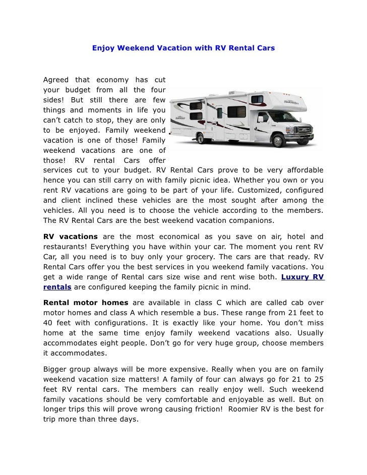 Enjoy weekend vacation with rv rental cars
