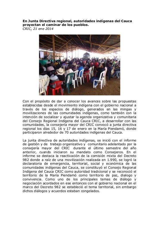 En Junta Directiva regional, autoridades indígenas del Cauca proyectan el caminar de los pueblos. CRIC, 21 ene 2014  Con e...