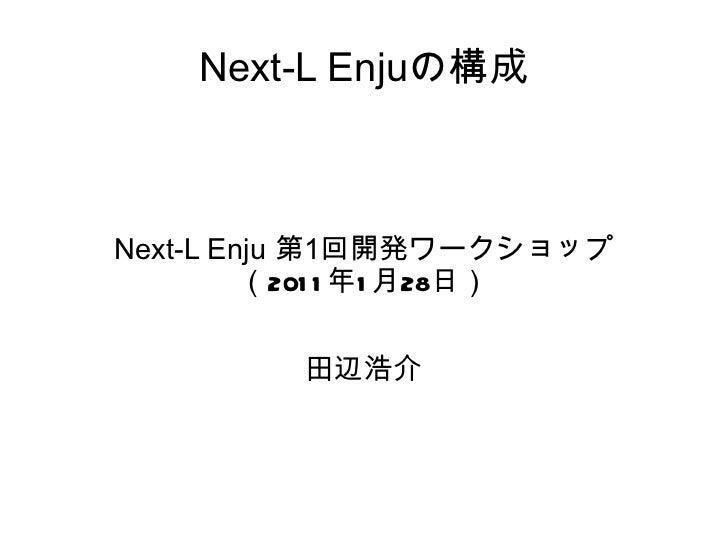 Next-L Enjuの構成 Next-L Enju  第 1 回開発ワークショップ ( 2011 年 1 月 28 日) 田辺浩介