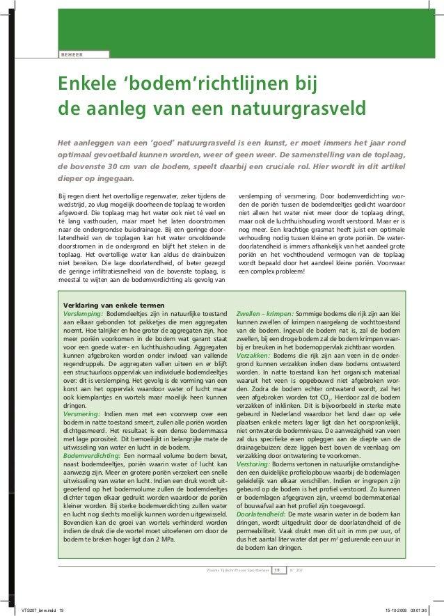 Vlaams Tijdschrift voor Sportbeheer 19 N° 207 Enkele 'bodem'richtlijnen bij de aanleg van een natuurgrasveld Het aanleggen...
