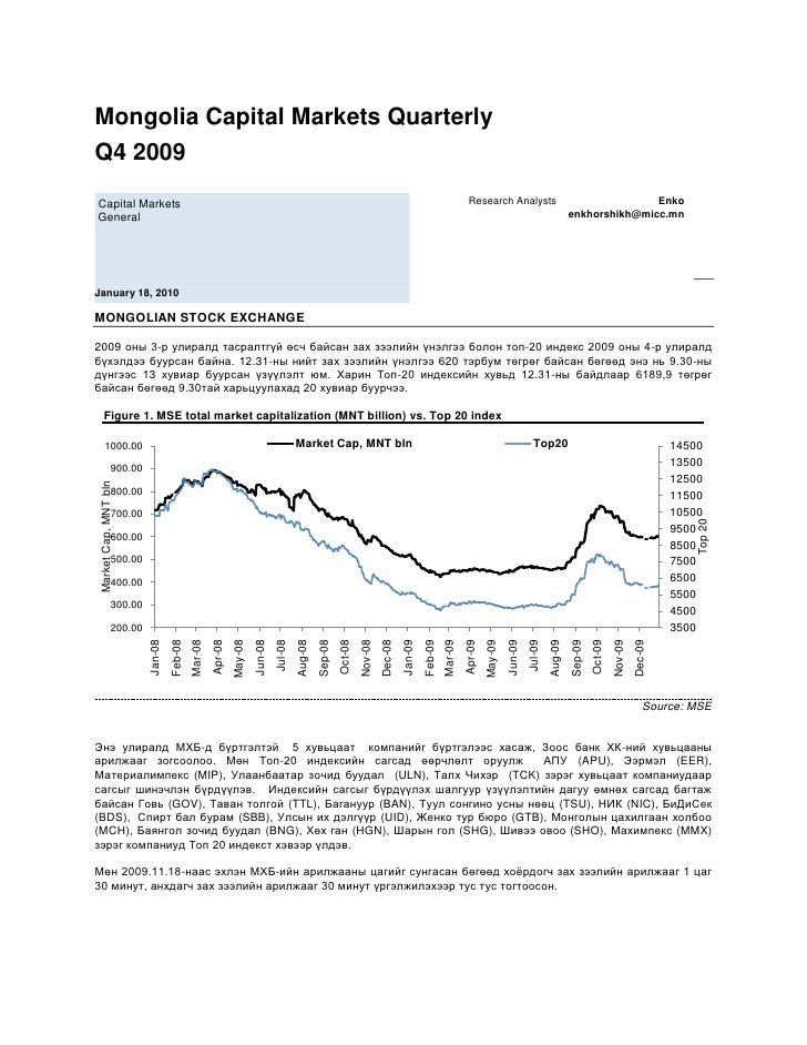 Mongolia Capital Markets Quarterly<br />Q4 2009 <br /> Capital Markets General January 18, 2010<br />Research Analysts    ...