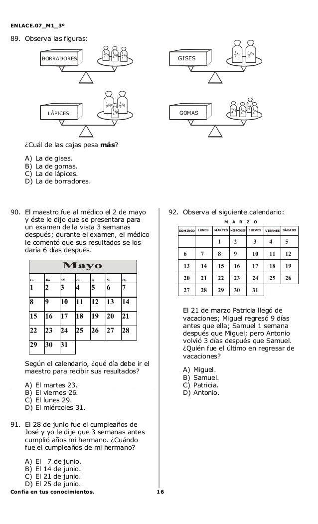 ENLACE.07_M1_3ºConfía en tus conocimientos. 1689. Observa las figuras:¿Cuál de las cajas pesa más?A) La de gises.B) La de ...