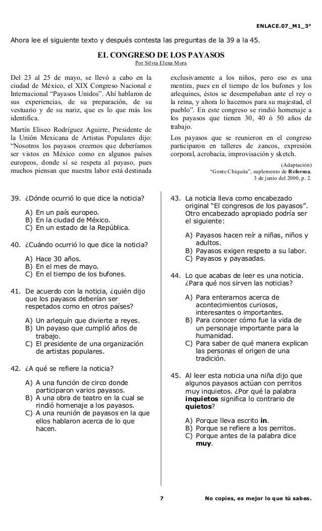 ENLACE.07_M1_3°7 No copies, es mejor lo que tú sabes.Ahora lee el siguiente texto y después contesta las preguntas de la 3...